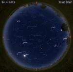 Mapa oblohy 24. dubna 2013 ve 22 hodin SELČ. Data: Stellarium Autor: Martin Gembec