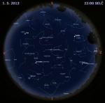 Mapa oblohy 1. května 2013 ve 22 hodin SELČ. Data: Stellarium Autor: Martin Gembec