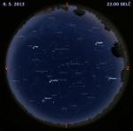 Mapa oblohy 8. května 2013 ve 22 hodin SELČ. Data: Stellarium Autor: Martin Gembec
