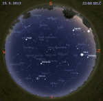 Mapa oblohy 15. května 2013 ve 22 hodin SELČ. Data: Stellarium Autor: Martin Gembec