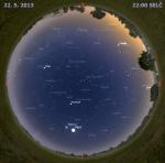 Mapa oblohy 22. května 2013 ve 22 hodin SELČ. Data: Stellarium Autor: Martin Gembec