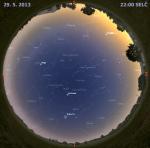 Mapa oblohy 29. května 2013 ve 22 hodin SELČ. Data: Stellarium Autor: Martin Gembec