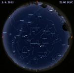Mapa oblohy 5. června 2013 ve 23 hodin SELČ. Data: Stellarium Autor: Martin Gembec