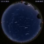 Mapa oblohy 12. června 2013 ve 23 hodin SELČ. Data: Stellarium Autor: Martin Gembec