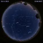 Mapa oblohy 26. června 2013 ve 23 hodin SELČ. Data: Stellarium Autor: Martin Gembec