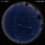 Mapa oblohy 3. července 2013 ve 23 hodin SELČ. Autor: Martin Gembec