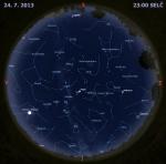 Mapa oblohy 24. července 2013 ve 23 hodin SELČ. Data: Stellarium Autor: Martin Gembec