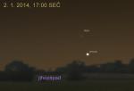 Venuše a Měsíc 2. ledna 2014 na večerní obloze. Data Stellarium Autor: Martin Gembec