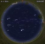 Mapa oblohy 8. ledna 2014 v 18 hodin SEČ. Data: Stellarium Autor: Martin Gembec