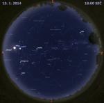 Mapa oblohy 15. ledna 2014 v 18 hodin SEČ. Data: Stellarium Autor: Martin Gembec