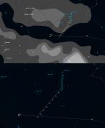 Komety Lovejoy a LINEAR v 7. týdnu 2014 na ranní obloze. Mapka pomocí programu Guide Autor: Martin Gembec