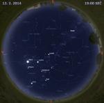 Mapa oblohy 12. února 2013 v 19 hodin SEČ. Data: Stellarium Autor: Martin Gembec