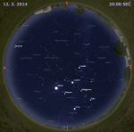 Mapa oblohy 12. března 2014 ve 20 hodin SEČ. Data: Stellarium Autor: Martin Gembec