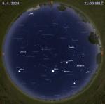 Mapa oblohy 9. dubna 2014 ve 21 hodin SELČ. Data: Stellarium Autor: Martin Gembec