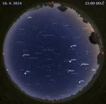 Mapa oblohy 16. dubna 2014 ve 22 hodin SELČ. Data: Stellarium Autor: Martin Gembec
