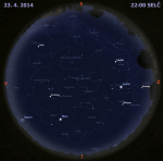 Mapa oblohy 23.dubna 2014 ve 22 hodin SELČ. Data: Stellarium Autor: Martin Gembec