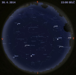 Mapa oblohy 30.dubna 2014 ve 22 hodin SELČ. Data: Stellarium Autor: Martin Gembec