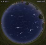 Mapa oblohy 7. května 2014 ve 22 hodin SELČ. Data: Stellarium Autor: Martin Gembec