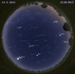 Mapa oblohy 14. května 2014 ve 22 hodin SELČ. Data: Stellarium Autor: Martin Gembec