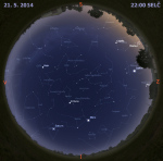 Mapa oblohy 21. května 2014 ve 22 hodin SELČ. Data: Stellarium Autor: Martin Gembec