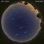 Mapa oblohy 28. května 2014 ve 22 hodin SELČ. Data: Stellarium Autor: Martin Gembec