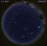 Mapa oblohy 4. června 2014 ve 22 hodin SELČ. Data: Stellarium Autor: Martin Gembec