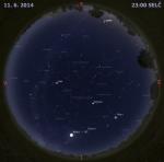 Mapa oblohy 11. června 2014 ve 23 hodin SELČ. Data: Stellarium Autor: Martin Gembec