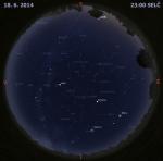 Mapa oblohy 18. června 2014 ve 23 hodin SELČ. Data: Stellarium Autor: Martin Gembec