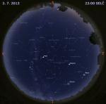 Mapa oblohy 2. července 2014 ve 23 hodin SELČ. Data: Stellarium Autor: Martin Gembec