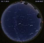 Mapa oblohy 16. července 2014 ve 23 hodin SELČ. Data: Stellarium Autor: Martin Gembec
