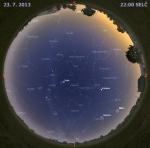 Mapa oblohy 23. července 2014 ve 22 hodin SELČ. Data: Stellarium Autor: Martin Gembec