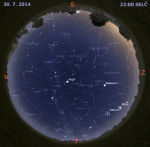 Mapa oblohy 30. července 2014 ve 22 hodin SELČ. Data: Stellarium Autor: Martin Gembec
