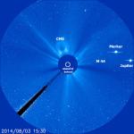 Jupiter a Merkur v LASCO C3 dne 3. 8. 2014 Autor: SOHO/LASCO (ESA & NASA)