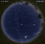 Mapa oblohy 6. srpna 2014 ve 22 hodin SELČ. Data: Stellarium Autor: Martin Gembec