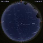 Mapa oblohy 13. srpna 2014 ve 22 hodin SELČ. Data: Stellarium Autor: Martin Gembec