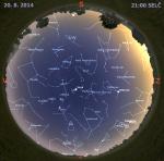Mapa oblohy 20. srpna 2014 ve 21 hodin SELČ. Data: Stellarium Autor: Martin Gembec