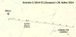 Mapka pro kometu C/2014 E2 (Jacques) v 38. týdnu 2014. Data: Guide 9 Autor: Martin Gembec