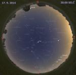 Mapa oblohy 17. září 2014 ve 20:00 SELČ. Data: Stellarium Autor: Martin Gembec