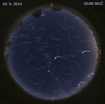 Mapa oblohy 24. září 2014 ve 20:00 SELČ. Data: Stellarium Autor: Martin Gembec