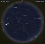 Mapa oblohy 8. října 2014 ve 20:00 SELČ. Data: Stellarium Autor: Martin Gembec