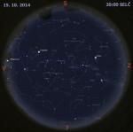 Mapa oblohy 15. října 2014 ve 20:00 SELČ. Data: Stellarium Autor: Martin Gembec