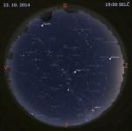 Mapa oblohy 22. října 2014 v 19:00 SELČ. Data: Stellarium Autor: Martin Gembec