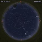 Mapa oblohy 29. října 2014 v 18:00 SEČ. Data: Stellarium Foto: Martin Gembec