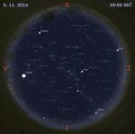 Mapa oblohy 5. listopadu 2014 v 18:00 SEČ. Data: Stellarium Autor: Martin Gembec