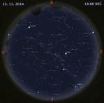 Mapa oblohy 12. listopadu 2014 v 18:00 SEČ. Data: Stellarium Autor: Martin Gembec