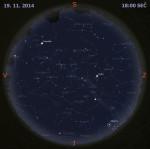 Mapa oblohy 19. listopadu 2014 v 18:00 SEČ. Data: Stellarium Autor: Martin Gembec