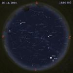 Mapa oblohy 26. listopadu 2014 v 18:00 SE�. Data: Stellarium Foto: Martin Gembec
