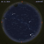 Mapa oblohy 26. listopadu 2014 v 18:00 SEČ. Data: Stellarium Autor: Martin Gembec