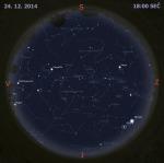 Mapa oblohy 24. prosince 2014 v 18:00 SEČ. Data: Stellarium Autor: Martin Gembec