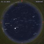 Mapa oblohy 31. prosince 2014 v 18:00 SEČ. Data: Stellarium Autor: Martin Gembec